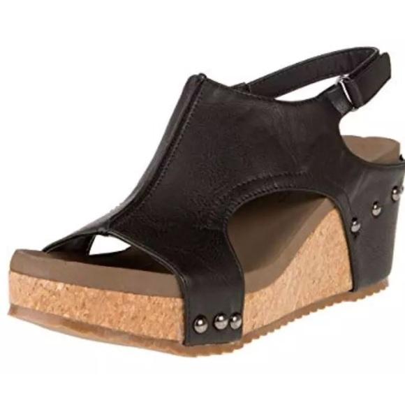 467574f06dd Corkys Black Wedge Sandals Mulan NWT